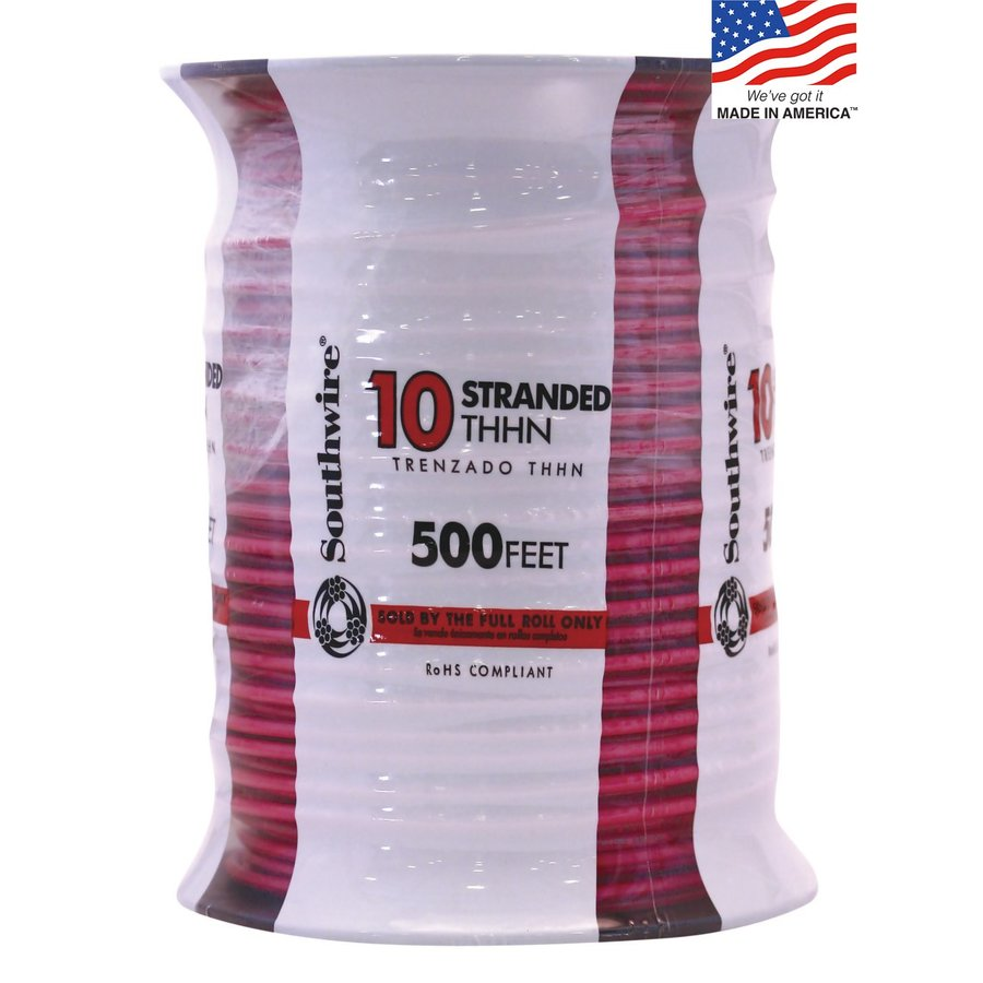 500-ft 10-AWG Stranded Red Copper THHN Wire (By-the-Roll)
