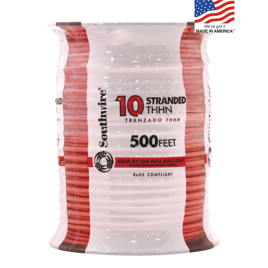 500-ft 10-AWG Stranded Orange Copper THHN Wire (By-the-Roll)