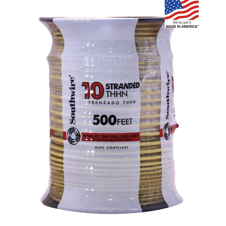 500-ft 10-AWG Stranded Yellow Copper THHN Wire (By-the-Roll)