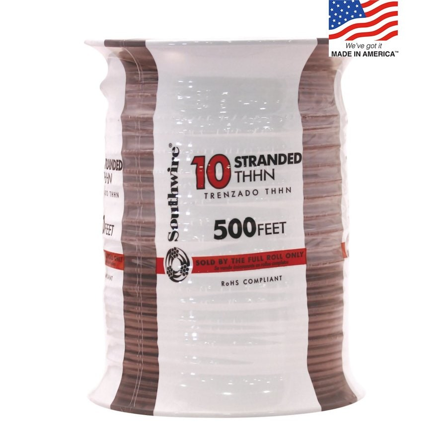 Southwire 500-ft 10-AWG Stranded Brown Copper THHN Wire (By-the-Roll)