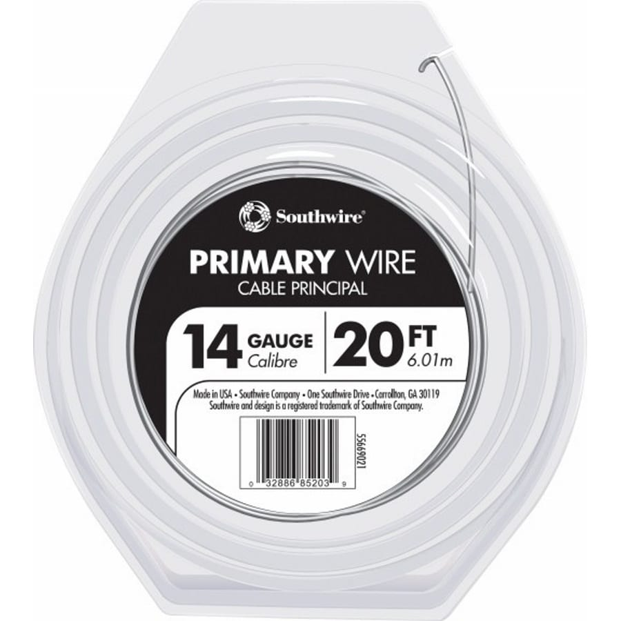 Southwire 20-ft 14-AWG Stranded White GPT Primary Wire