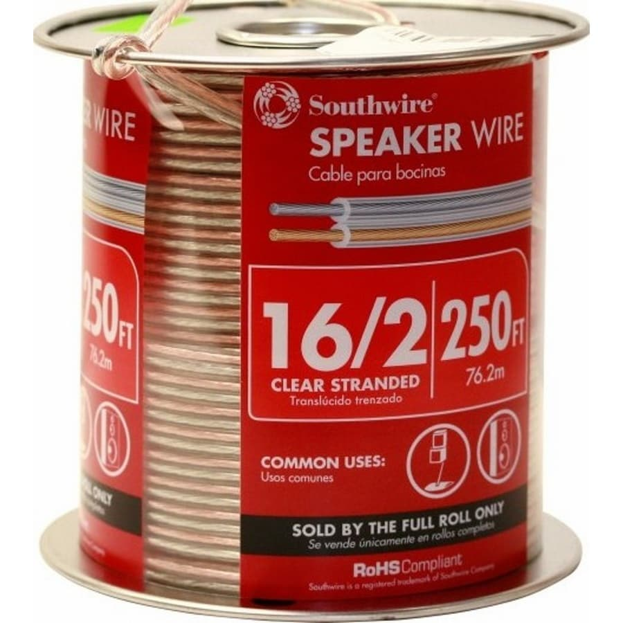 250-ft 16 Awg to 2 Standard Speaker Wire (By-The-Roll)