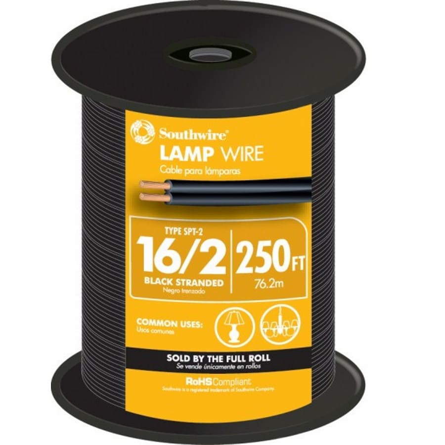 Shop 250-ft 16-AWG 2-Conductor Black Lamp Cord at Lowes.com