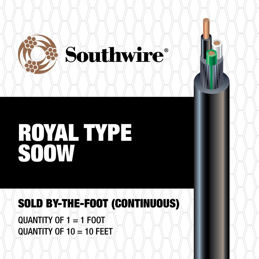 Southwire 10-3 Black SOOW Power Cord (By-the-Foot)