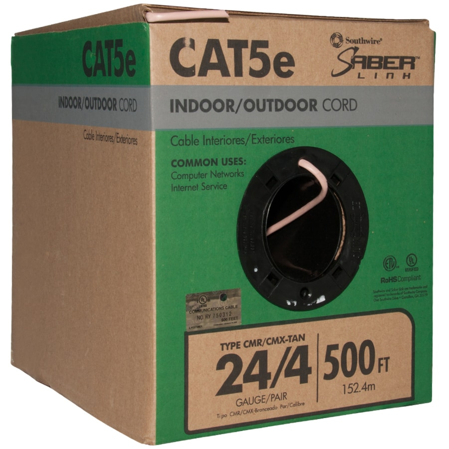 Southwire 500 Ft 24 4 Cat 5e Indoor Outdoor Beige Data Cable Box At Wiring