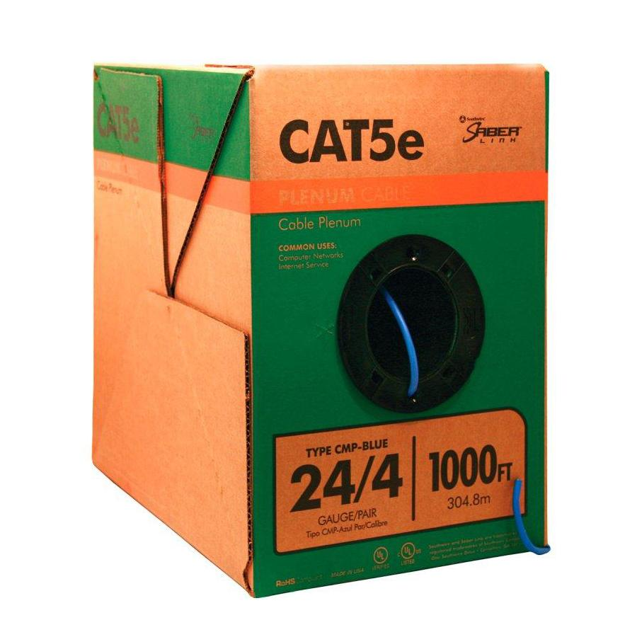 Shop Data Cable At Cat 5e Bootless Cables Cat5e Blue Ethernet Patch 20 Southwire 1000 Ft 24 4 Plenum