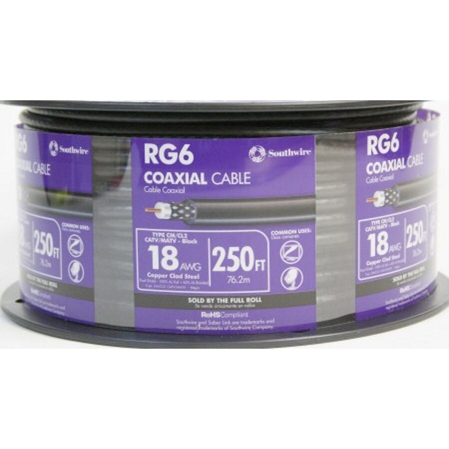 Southwire 250-ft 18-AWG Rg6 Black Coax Cable Spool