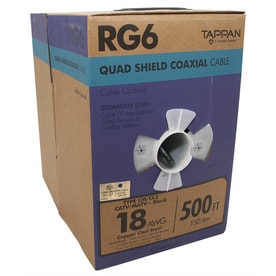 Southwire 500-ft 18-AWG RG6-quad Shield Black Coax Cable Pull Box