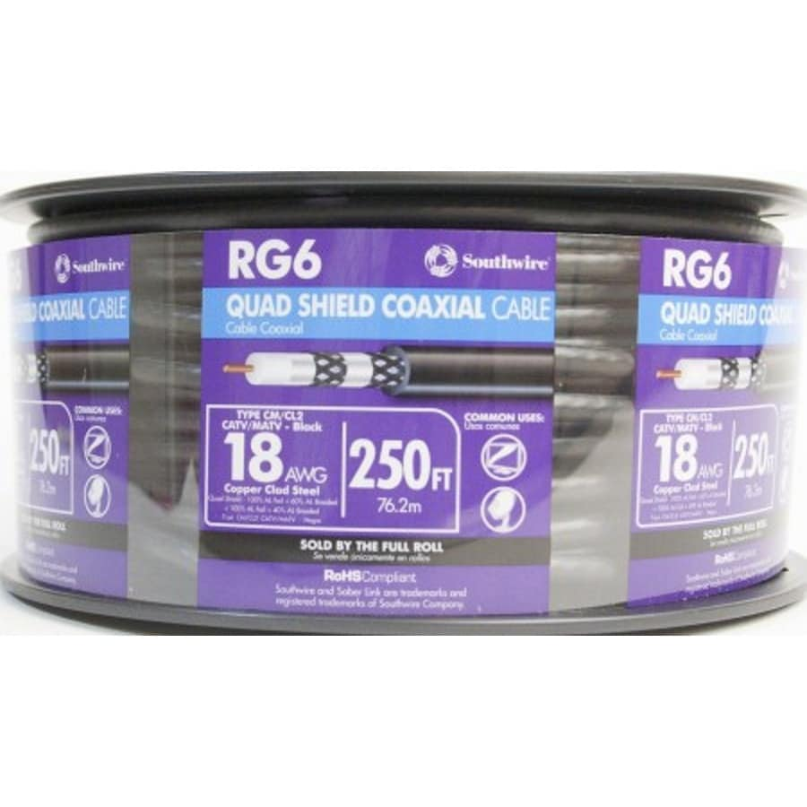 250-ft 18 Awg Rg6-Quad Shield Black Coax Cable Spool