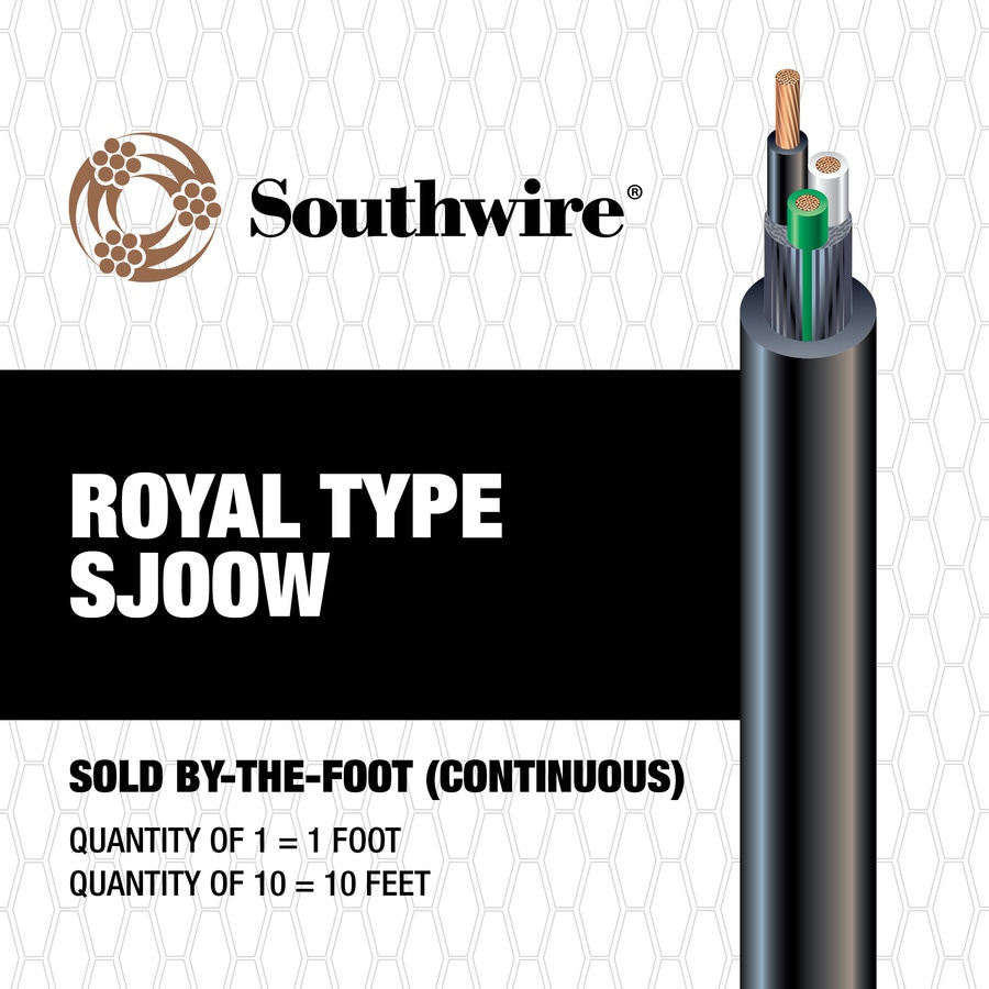 10 to 3 Black SJOOW Power Cord (By-the-Foot)