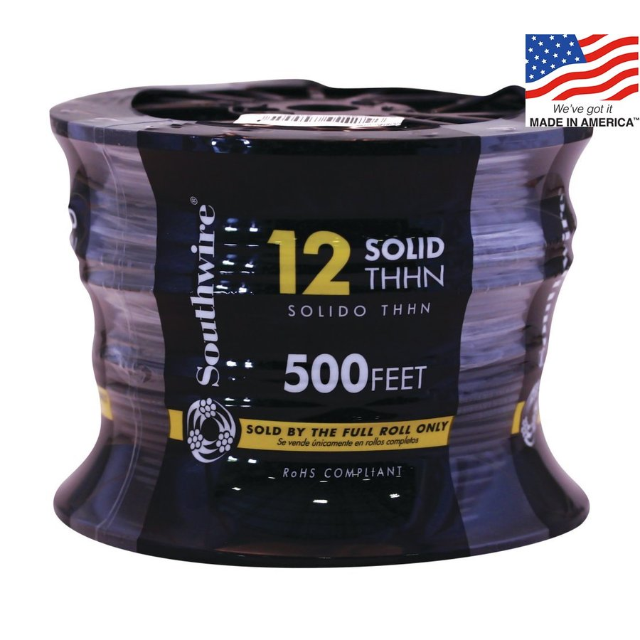 Southwire 500-ft 12-AWG Solid Black Copper THHN Wire (By-the-Roll)