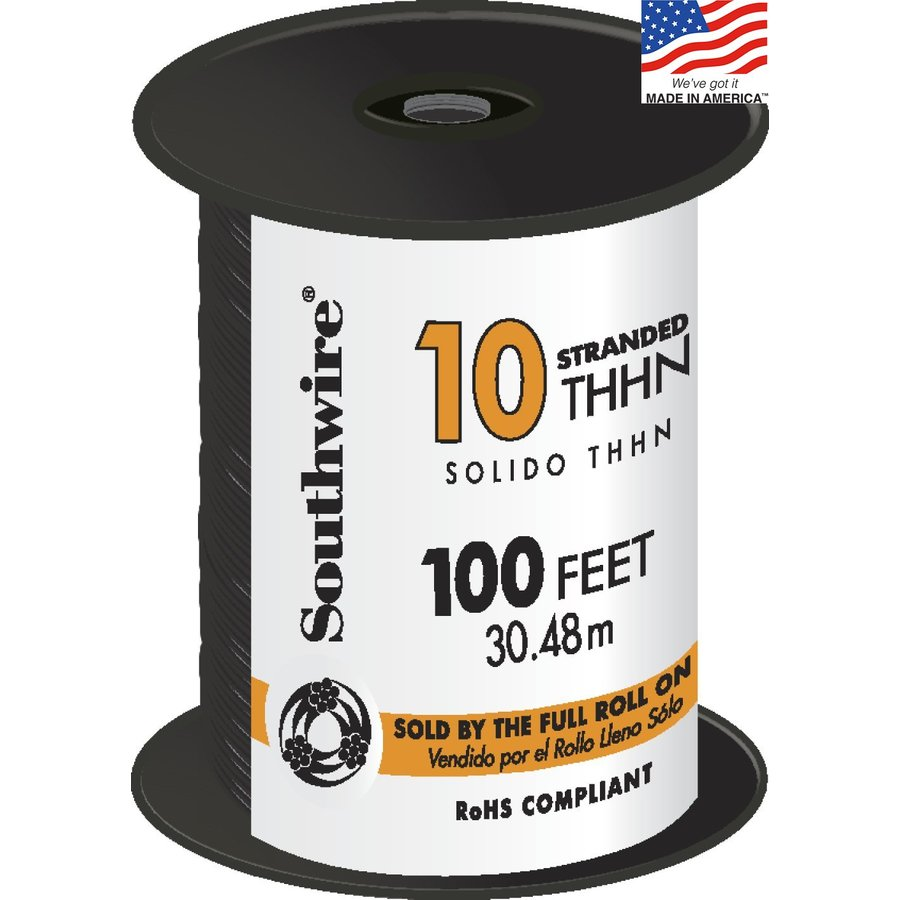 Shop Southwire 100-ft 10-AWG Stranded Black Copper THHN Wire (By-the ...