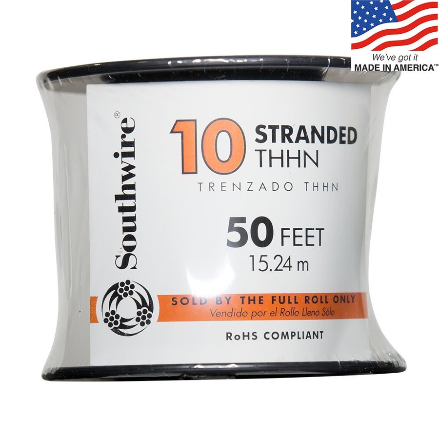 50-ft 10-AWG Stranded Black Copper THHN Wire (By-the-Roll)