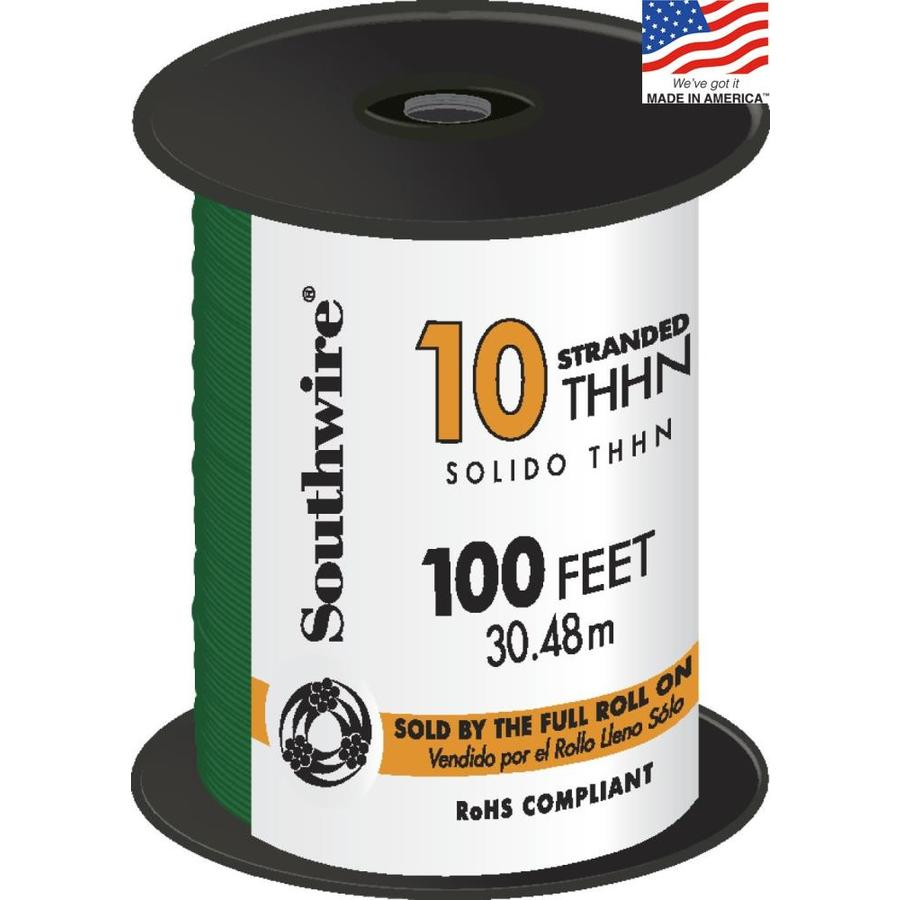 Southwire 100-ft 10-AWG Stranded Green Copper THHN Wire (By-the-Roll)