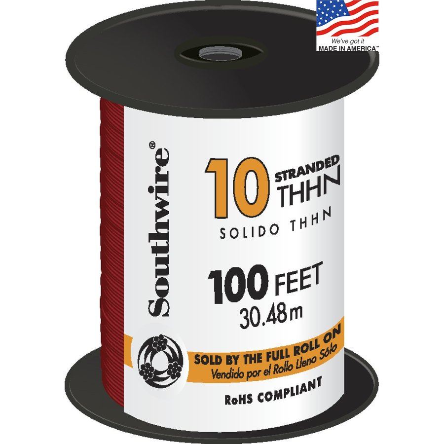 Shop Southwire 100-ft 10-AWG Stranded Red Copper THHN Wire (By-the ...