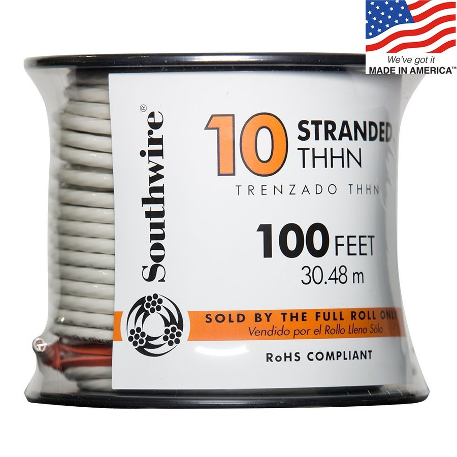 Southwire 100-ft 10-AWG Stranded White Copper THHN Wire (By-the-Roll)