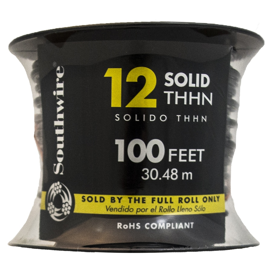 Southwire 100-ft 12-AWG Solid Black Copper THHN Wire (By-the-Roll)