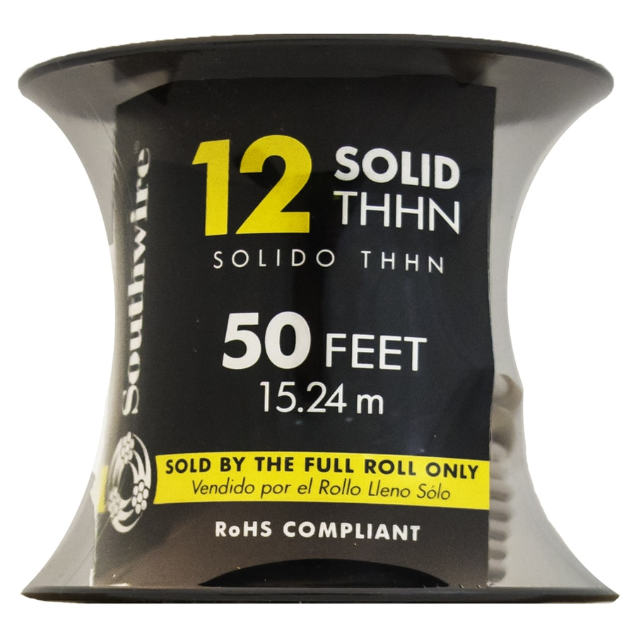 Southwire 50-ft 12-AWG Solid White Copper THHN Wire (By-the-Roll)