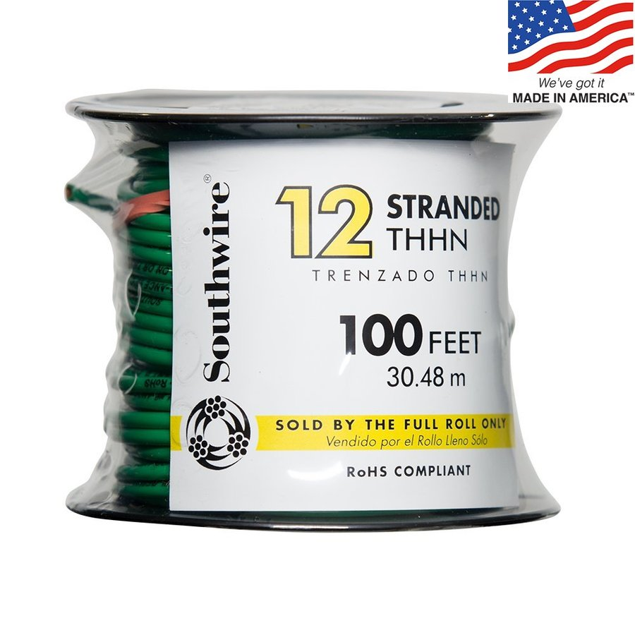 Southwire 100-ft 12-AWG Stranded Green Copper THHN Wire (By-the-Roll)