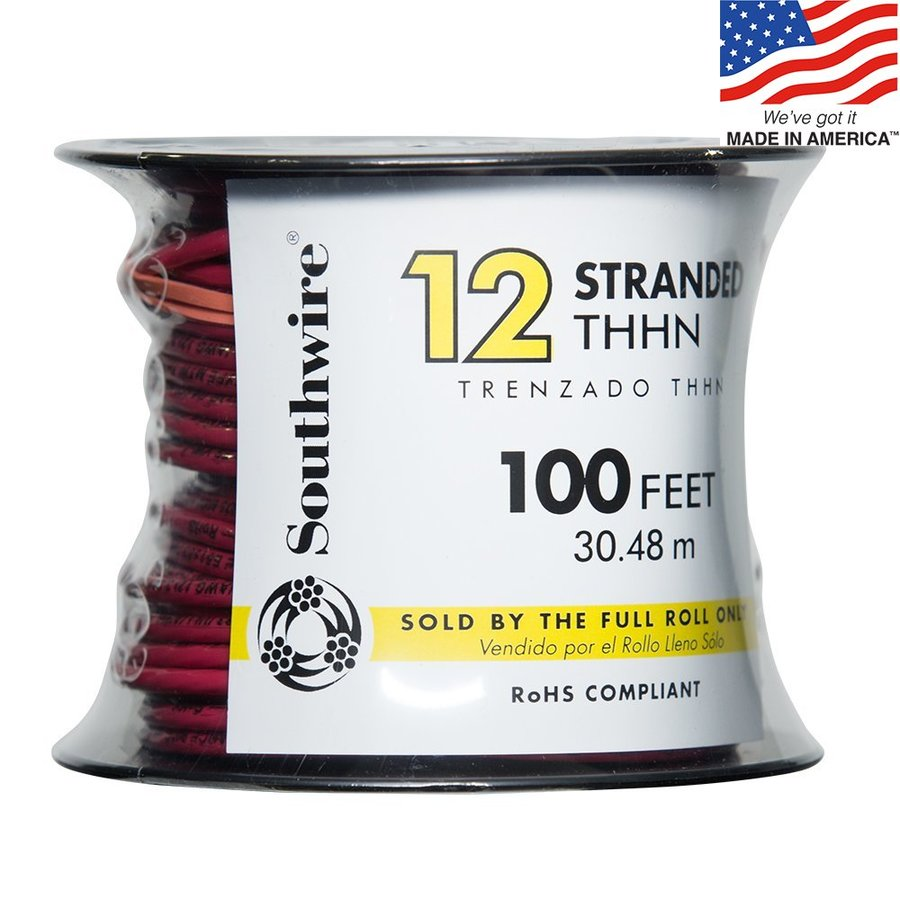 Southwire 100-ft 12-AWG Stranded Red Copper THHN Wire (By-the-Roll)