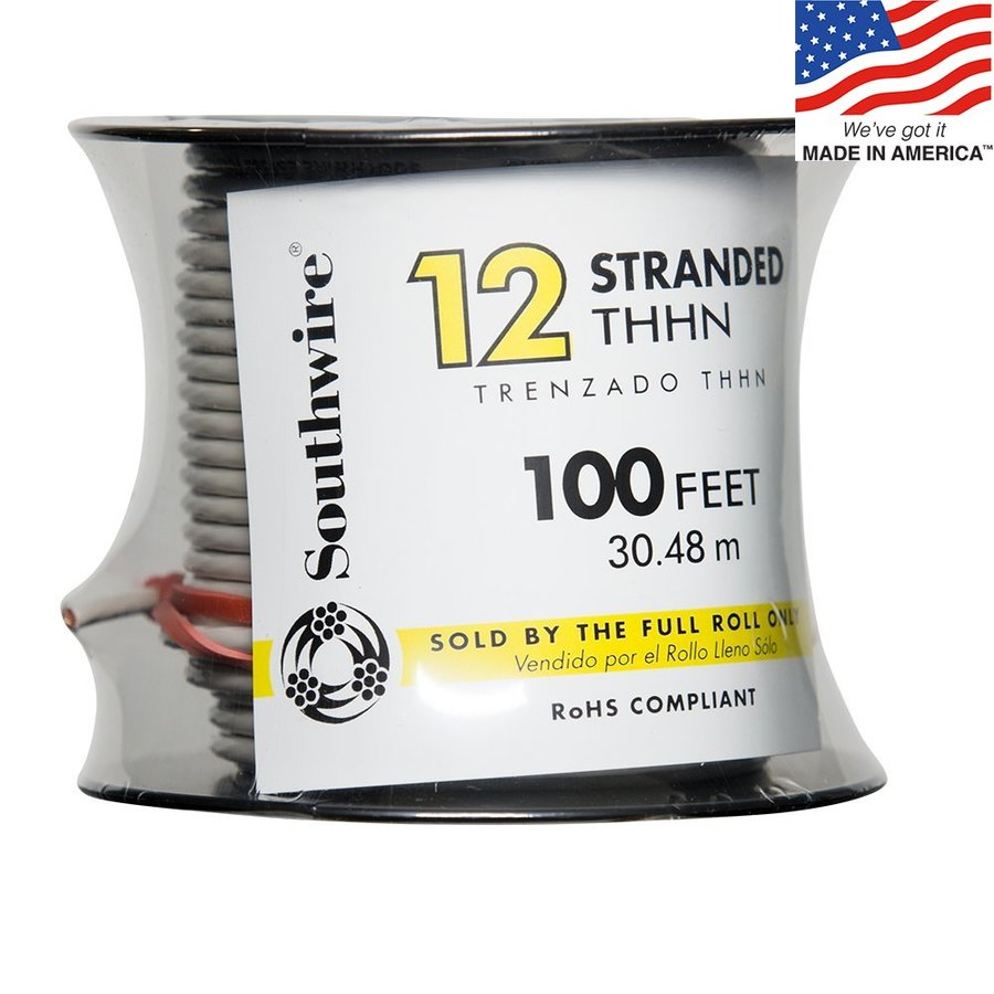 Southwire 100-ft 12-AWG Stranded White Copper THHN Wire (By-the-Roll)