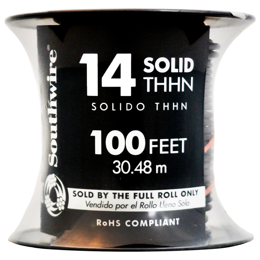 Southwire 100-ft 14-AWG Solid Black Copper THHN Wire (By-the-Roll)