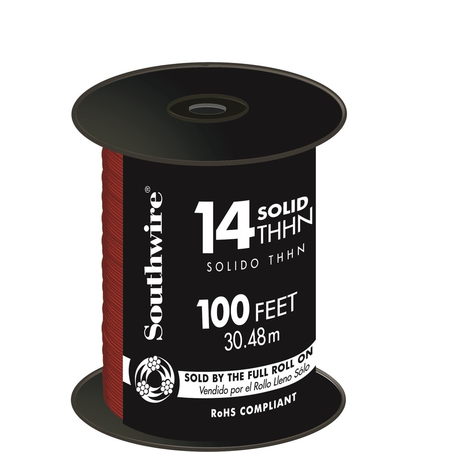 Southwire 100-ft 14-AWG Solid Red Copper THHN Wire (By-the-Roll)