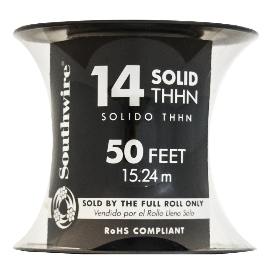 Southwire 50-ft 14-AWG Solid White Copper THHN Wire (By-the-Roll)