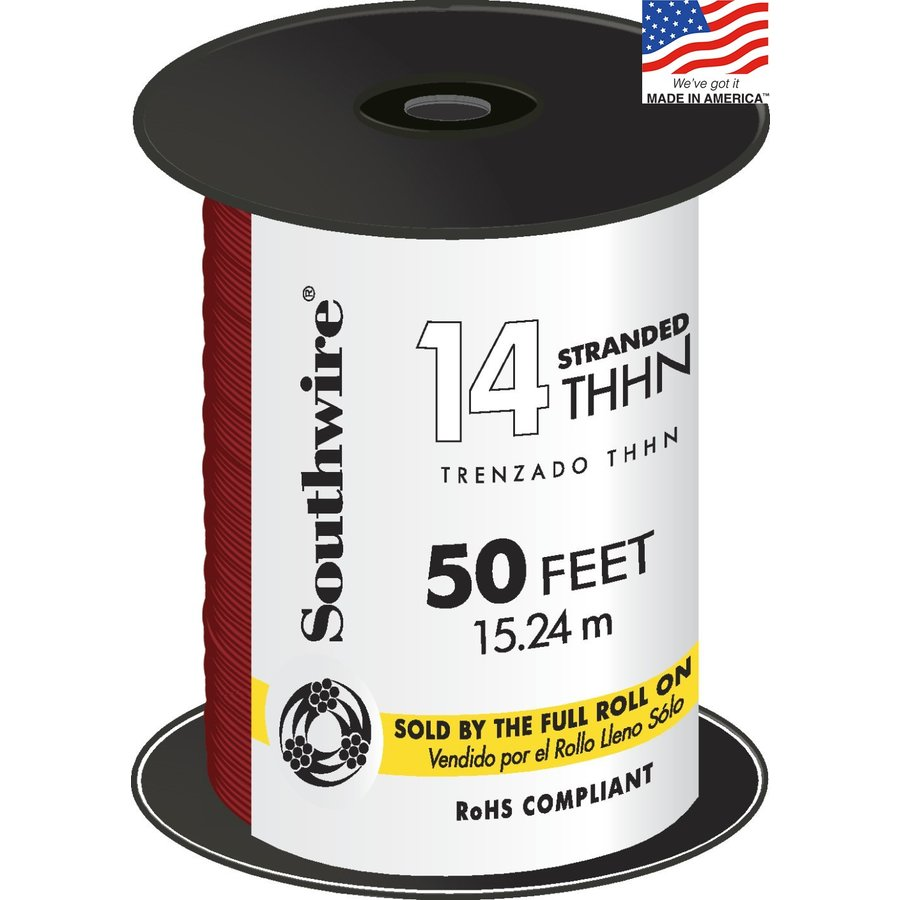 Southwire 50-ft 14-AWG Stranded Red Copper THHN Wire (By-the-Roll)