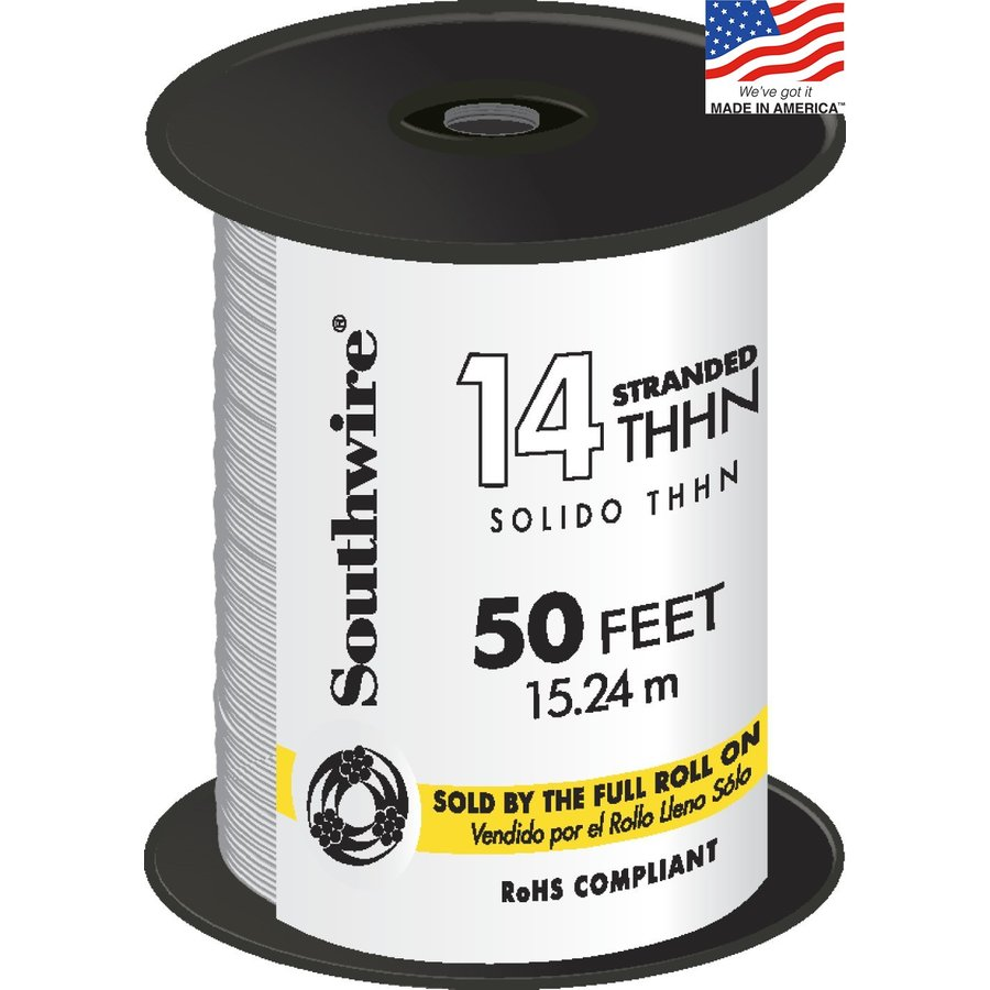 Shop Southwire 50-ft 14-AWG Stranded White Copper THHN Wire (By-the ...