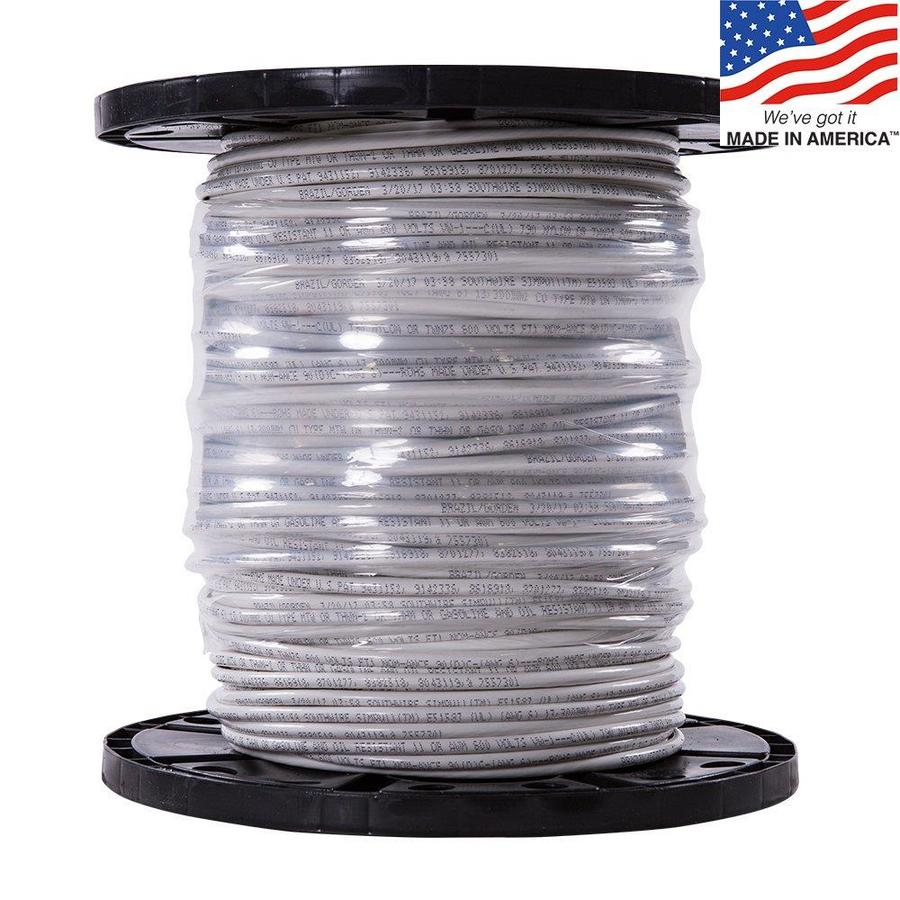 500-ft 6-AWG Stranded White Copper THHN Wire (By-the-Roll)
