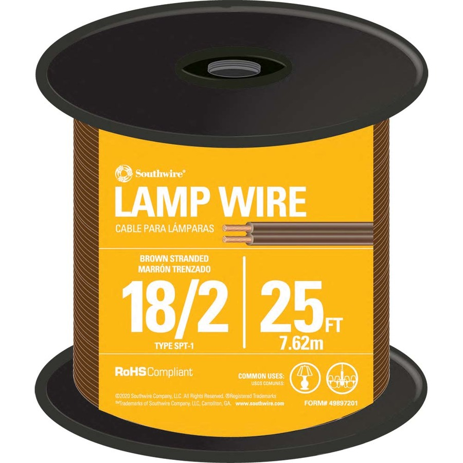 Southwire 25-ft 18-AWG 2-Conductor Brown Lamp Cord