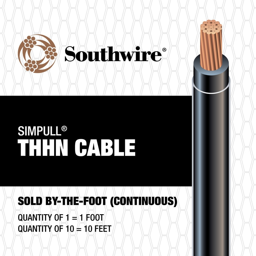 Shop Southwire SIMpull 2 AWG Stranded Black Copper THHN Wire (By-the ...