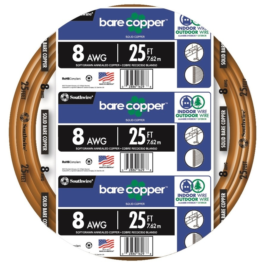 Southwire 25-ft 8-Gauge Solid Soft Drawn Copper Bare Wire (By-the-Roll)