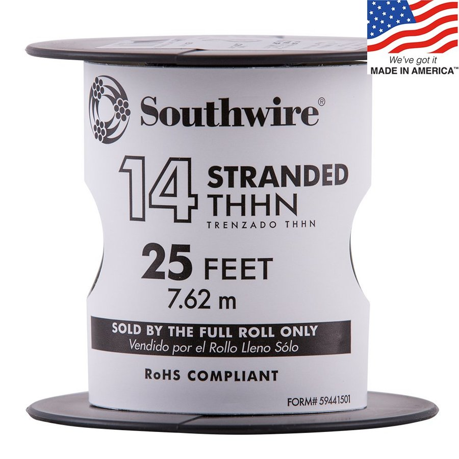 Shop Southwire 25-ft 14-AWG Stranded Black Copper THHN Wire (By-the ...