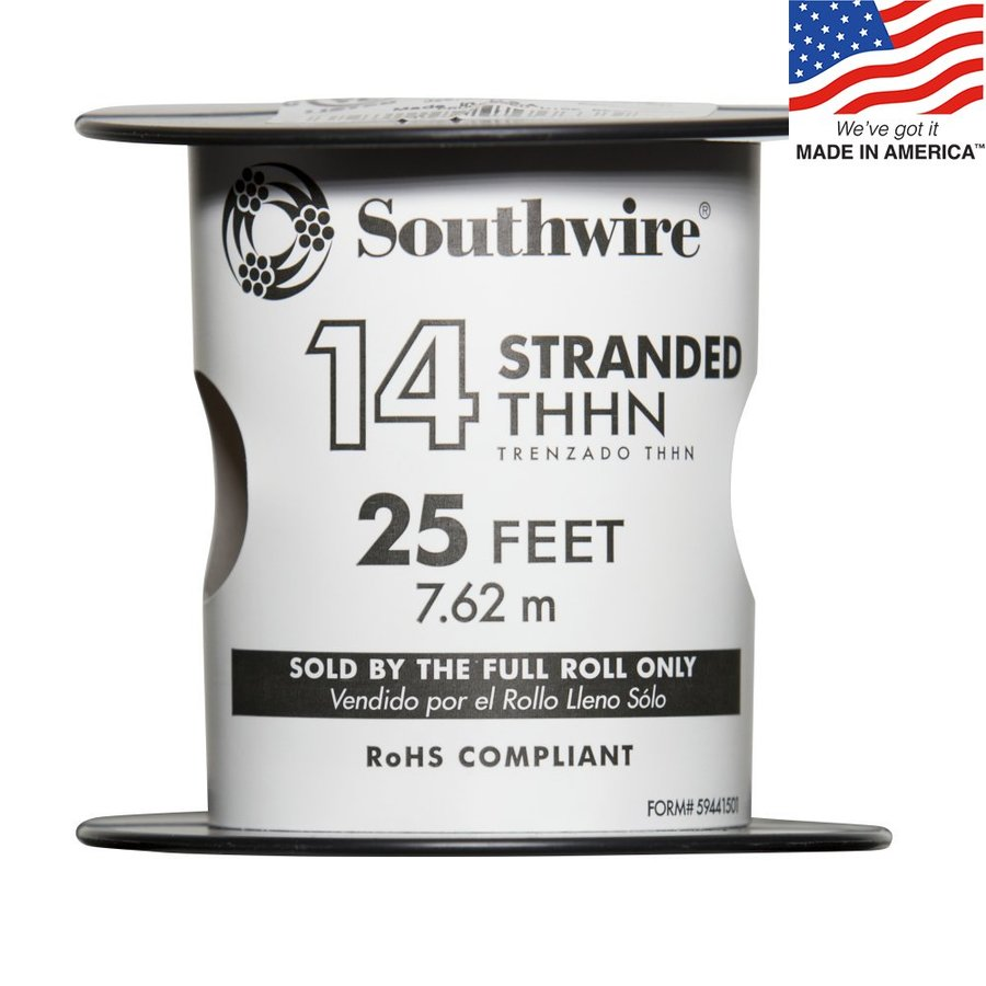 25-ft 14-AWG Stranded Red Copper THHN Wire (By-the-Roll)