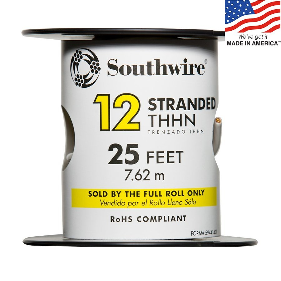 25-ft 12-AWG Stranded White Copper THHN Wire (By-the-Roll)