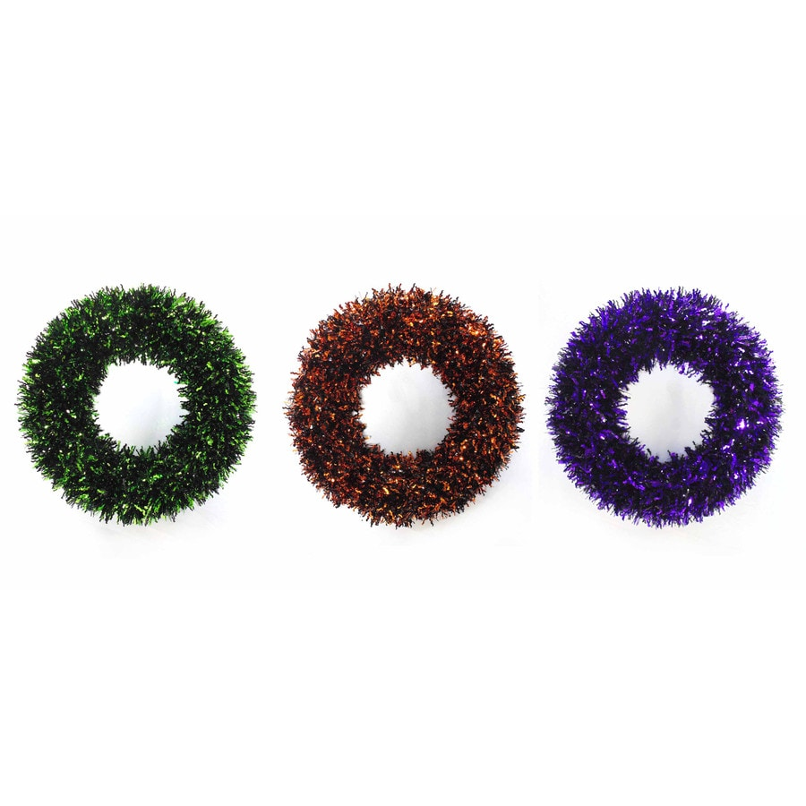 Holiday Living 24-in Indoor/Outdoor Tinsel Artificial Halloween Wreath