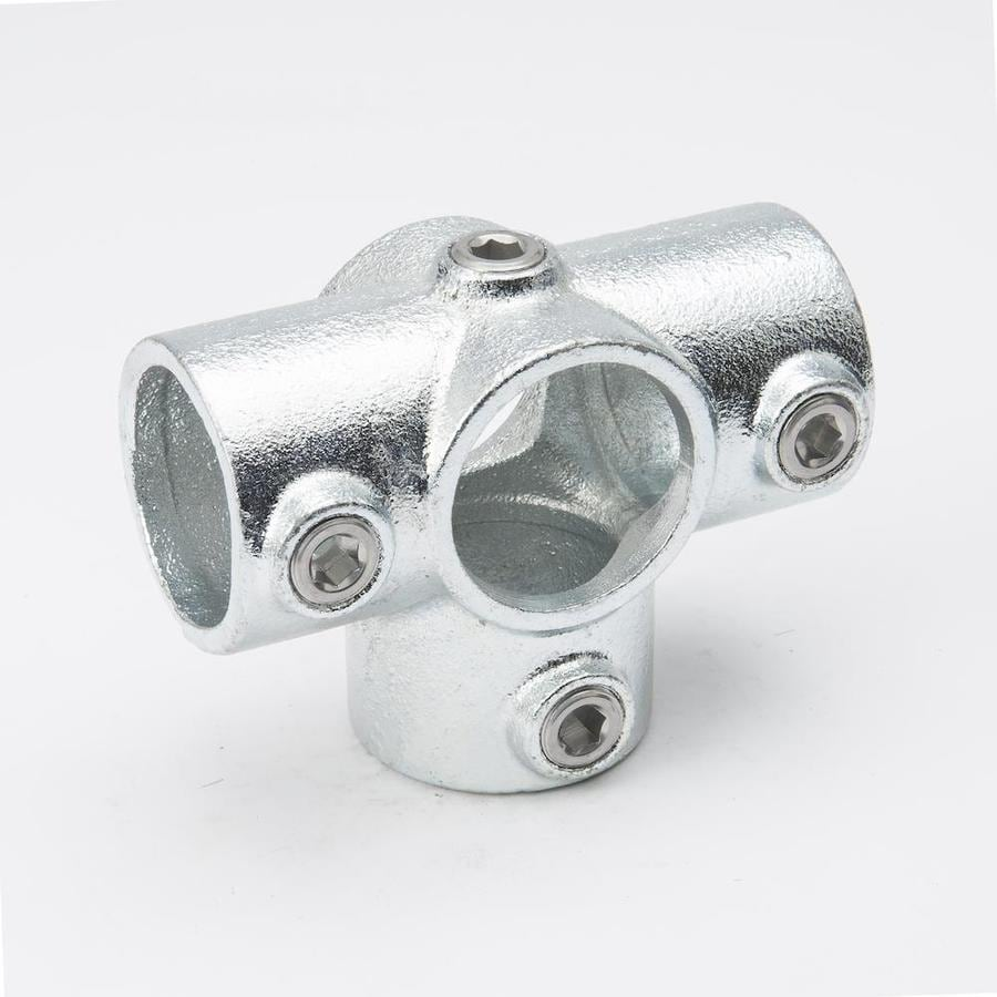 SteelTek 1-1/4-in x 1-1/4-in x 1-1/4-in 90-Degree Gray Galvanized Steel Structural Pipe Fitting Cross Tee