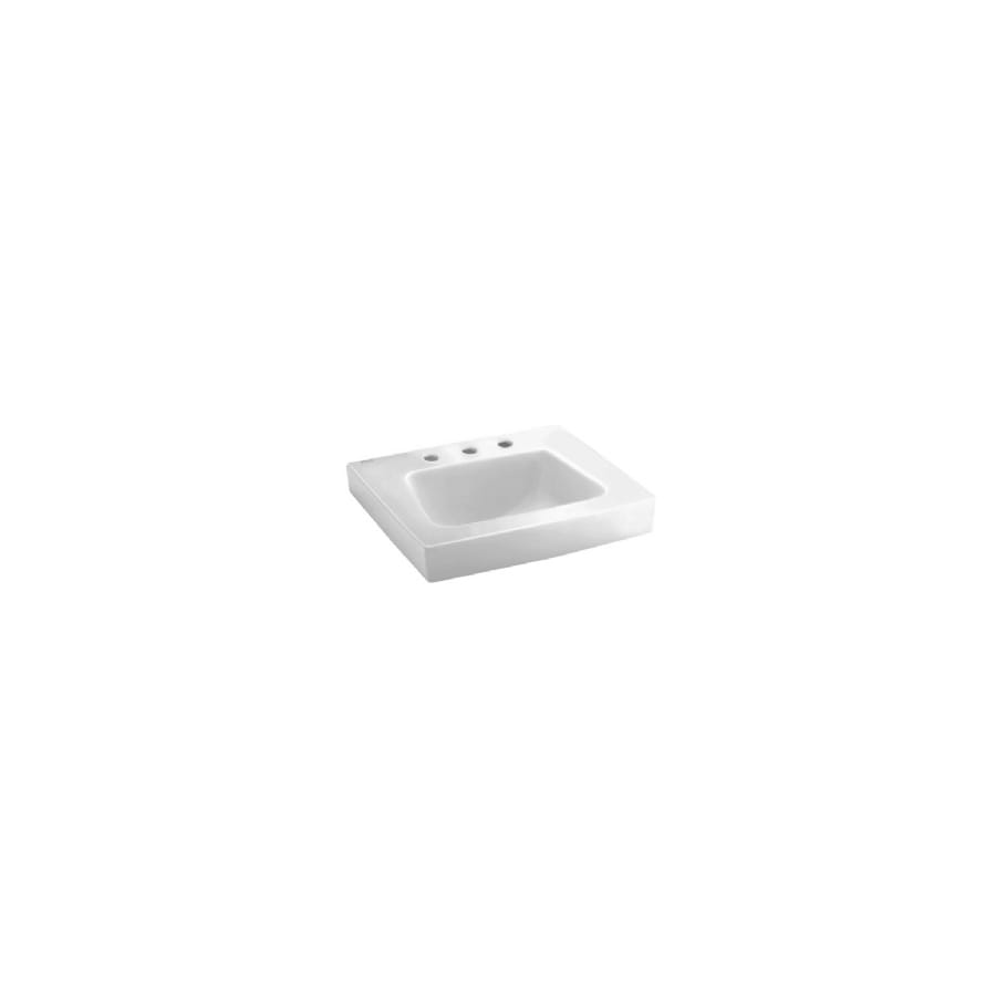 American Standard Roxalyn White Wall-Mount Rectangular Bathroom Sink with Overflow
