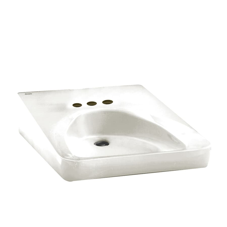 American Standard Wheelchair Users White Wall-Mount Rectangular Bathroom Sink with Overflow