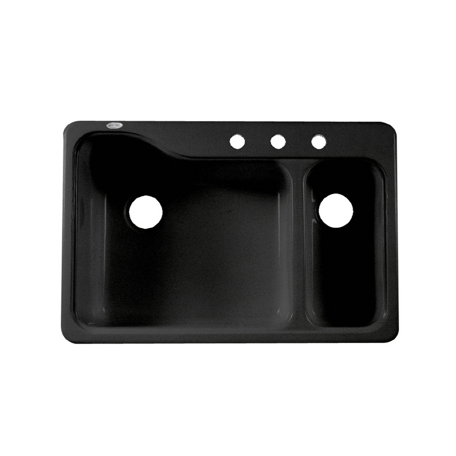 american standard black 3 hole double basin porcelain kitchen sink shop american standard black 3 hole double basin porcelain kitchen      rh   lowes com