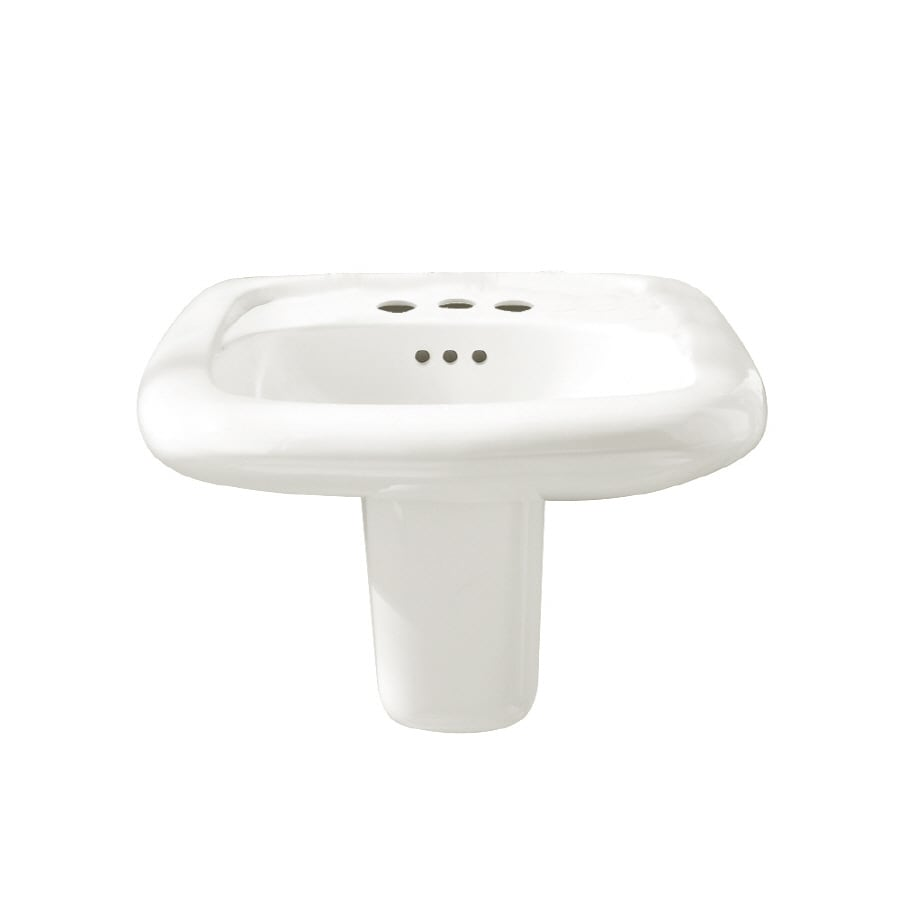 American Standard Murro White Wall-Mount Rectangular Bathroom Sink with Overflow