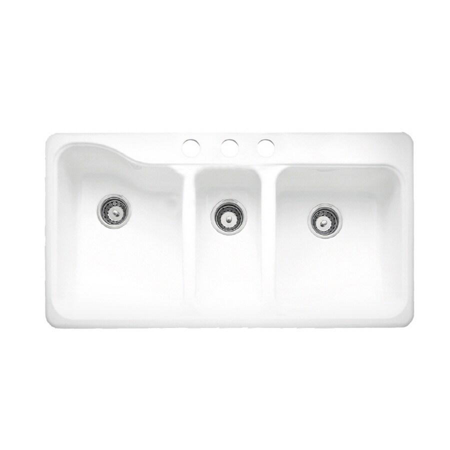 American Standard White Heat 3hole Triplebasin Porcelain Kitchen Sink