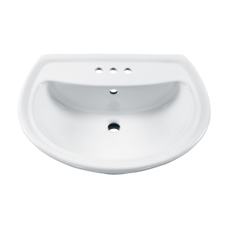 American Standard Cadet 25.25-in L x 21.5-in W White Vitreous China Oval Pedestal Sink Top