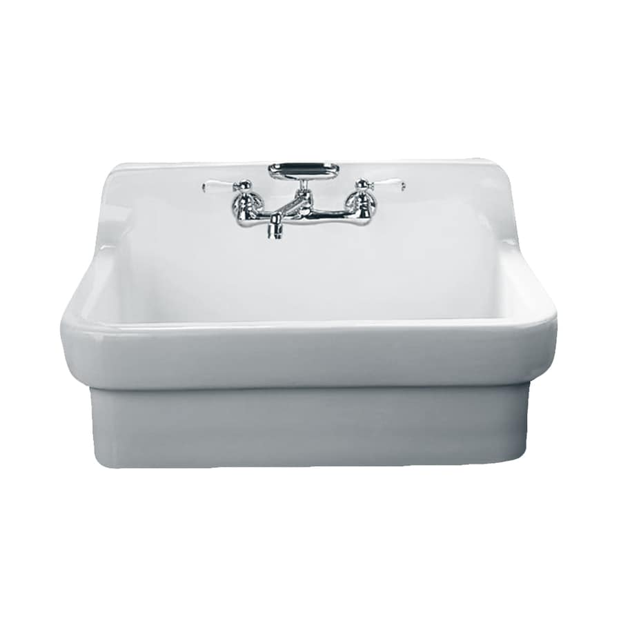 American Standard Country 22-in x 30-in White Single-Basin Porcelain Apron Front/Farmhouse 2-Hole Residential Kitchen Sink