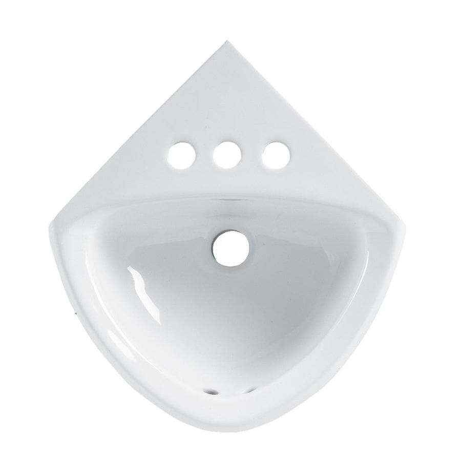 American Standard White Wall-Mount Triangular Bathroom Sink with Overflow