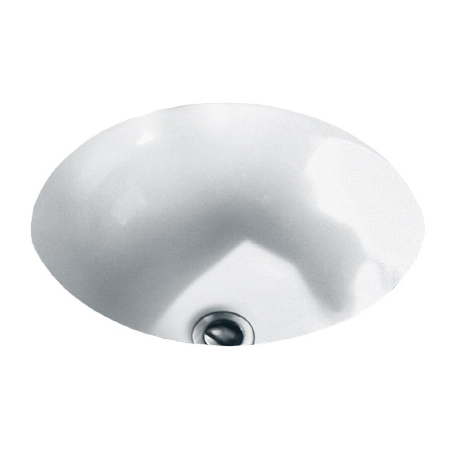 Shop American Standard White Undermount Round Bathroom Sink With Overflow At