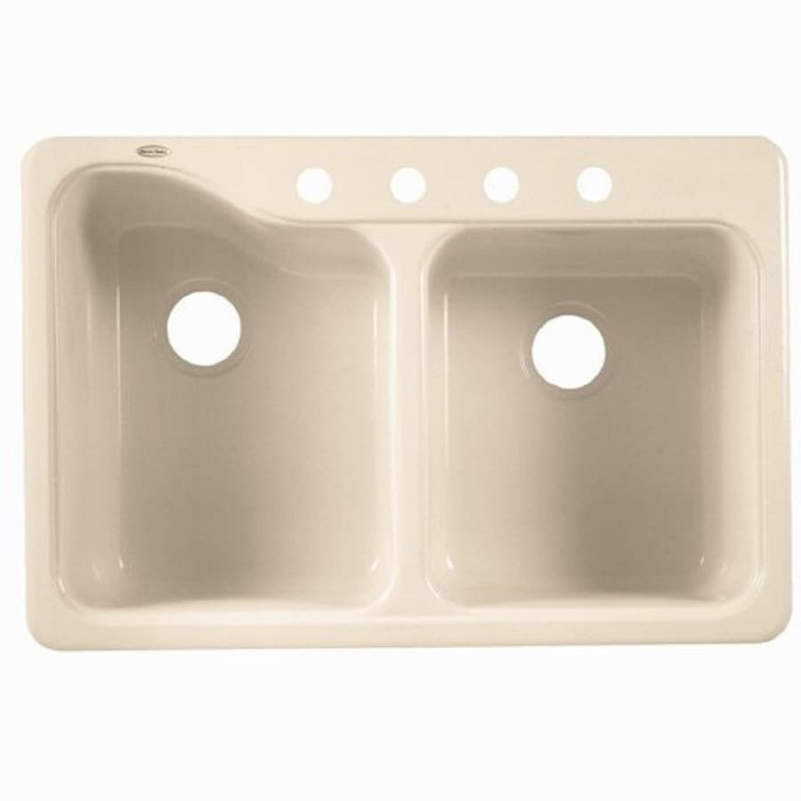American Standard Silhouette 24 62 In X 35 63 Bisque Double Basin Porcelain Drop