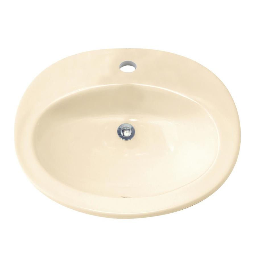American Standard Bone Drop-in Oval Bathroom Sink with Overflow